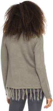 Back From Bali Womens Long Sleeve Winter Cardigan Wrap Knit Boho Cowl Neck Fringe Grey Large/XLarge