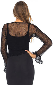 Back From Bali Womens Sheer Shrug Bolero Long Sleeves Cropped Cardigan Lite Bell Sleeves Black L/XL