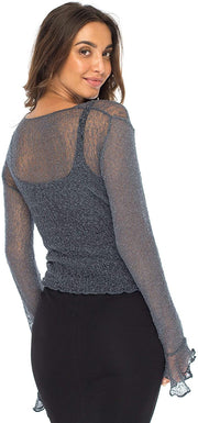 Back From Bali Womens Sheer Shrug Bolero Long Sleeves Cropped Cardigan Lite Bell Sleeves Gunmetal L/XL