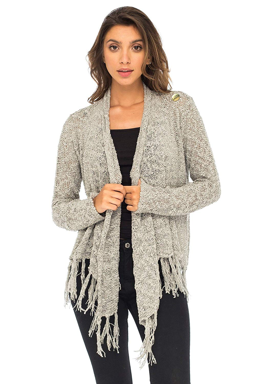 Back From Bali Womens Long Sleeve Cardigan Open Front Shrug Lightweight Fringe Sweater Grey L/XL