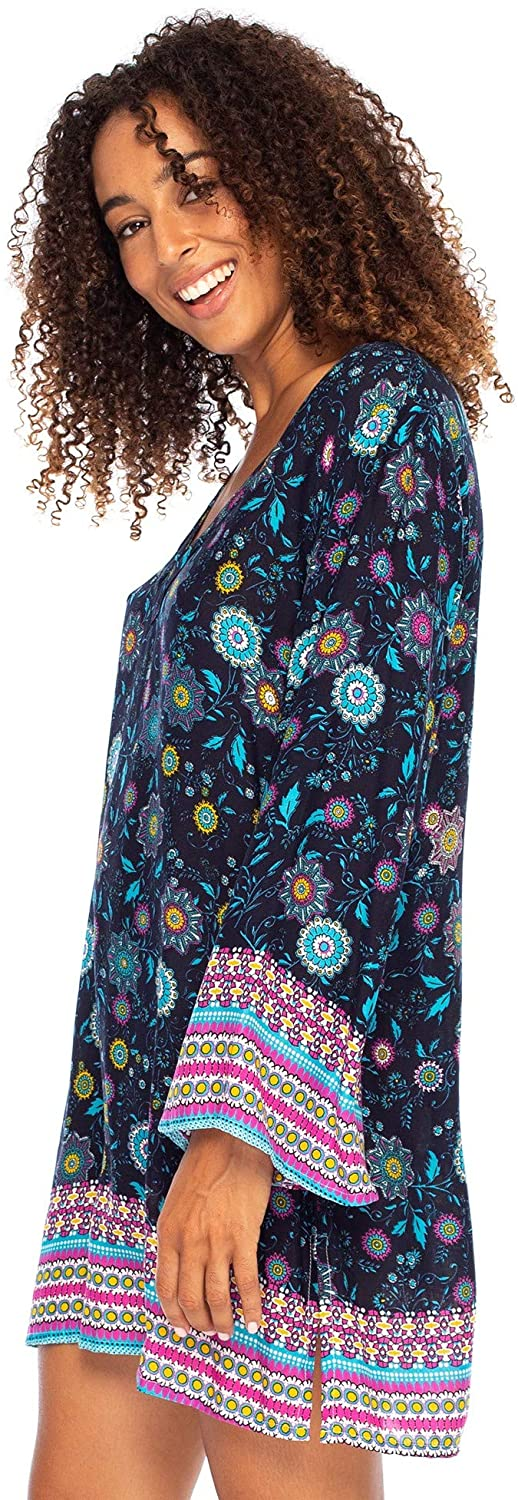 Back From Bali Womens Boho Print Beach Dress V Neck Loose Tunic Top Swimsuit Cover Up Casual Bohemian Sundress Turquoise X-Large