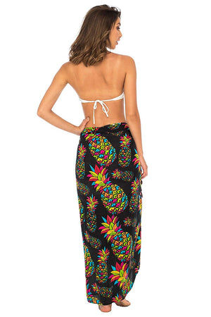 Back From Bali Womens Sarong Swimsuit Cover up Pineapple Beach Wear Bikini Wrap Skirt with Coconut Clip Black