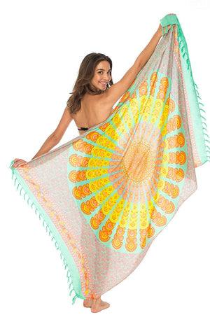 Back From Bali Womens Beach Swimsuit Bikini Cover Up Wrap and Clip Sarong Peacock Mint Sunset