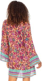 Boho Print Beach Dress V Neck Loose Tunic Top Swimsuit CoverUp Casual Bohemian Sundress