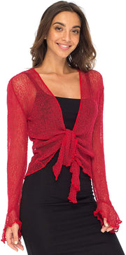 Back From Bali Womens Sheer Shrug Bolero Long Sleeves Cropped Cardigan Lite Bell Sleeves Red S/M