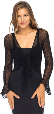 Back From Bali Womens Sheer Shrug Bolero Long Sleeves Cropped Cardigan Lite Bell Sleeves Black S/M
