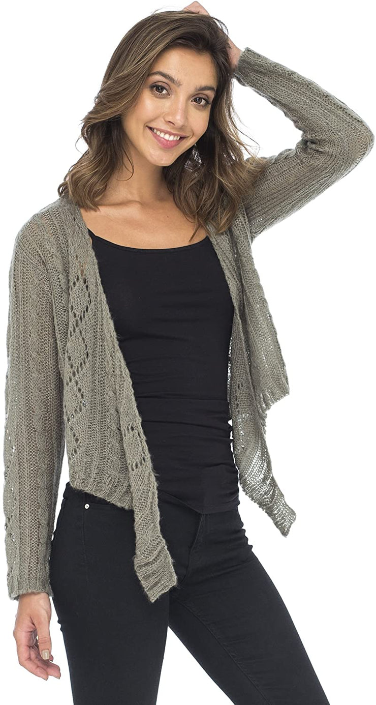Back From Bali Womens Cable Knit Shrug Bolero Long Sleeve Boho Cardigan Tie Frontt Grey Large/X-Large