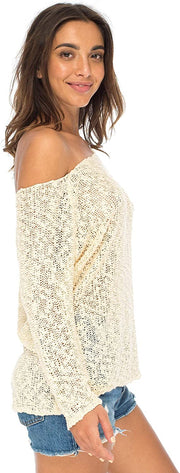 Back From Bali Womens Off Shoulder Pullover Sweater Oversized Lightweight Knit Boho Loose Summer Top Cream S/M