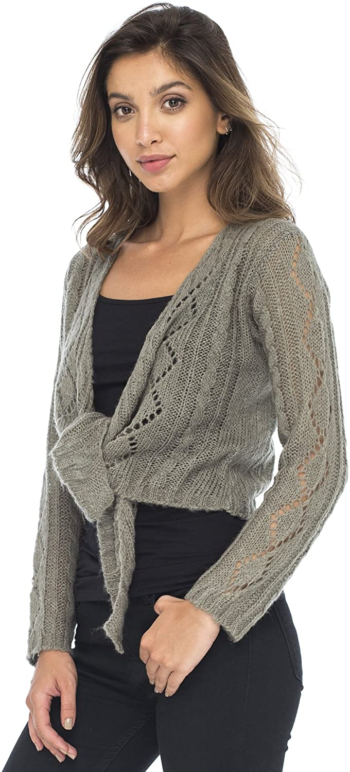 Back From Bali Womens Cable Knit Shrug Bolero Long Sleeve Boho Cardigan Tie Front Grey Small/Medium