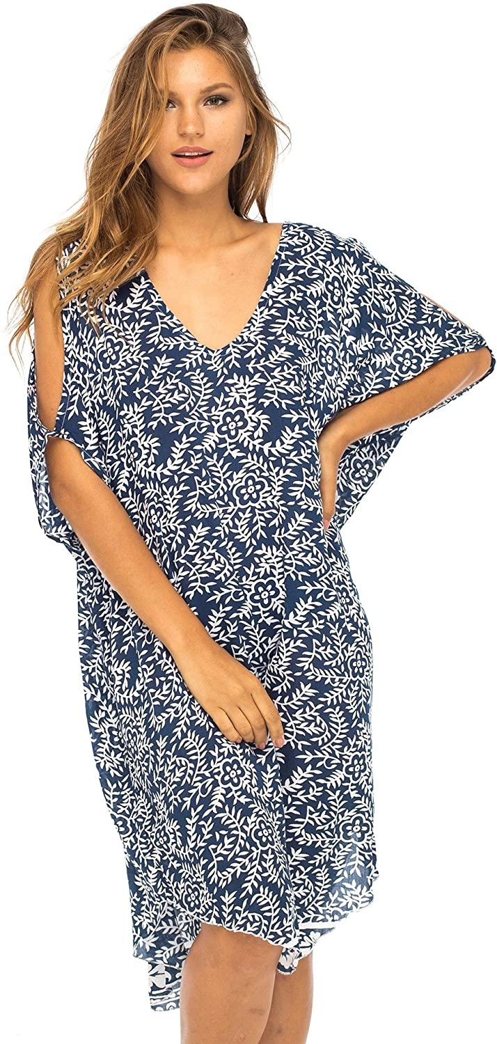 Cold Shoulder Floral Loose Beach Tunic Cover Up
