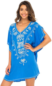 Embroidered Boho Beach Tunic Short Swimsuit Cover Up