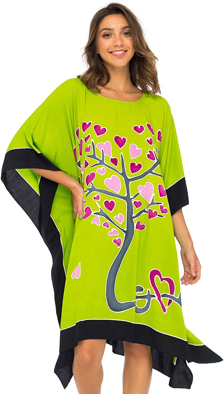 Back From Bali Womens Swimwear Cover Up, Swimsuit Beach Dress Kaftan Poncho in Love Tree Design Lime L/XL