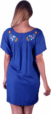 Back From Bali Mexico Embroidered Short Dress Blue M/L