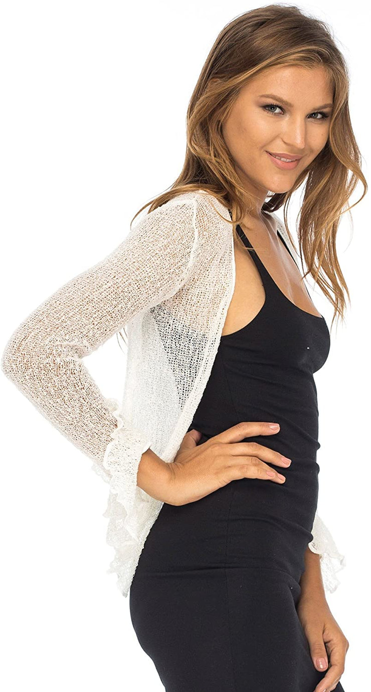 Back From Bali Womens Sheer Shrug Bolero Long Sleeves Cropped Cardigan Lite Bell Sleeves Cream Off White L/XL