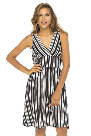 Striped Sleeveless Deep V Neck Dress