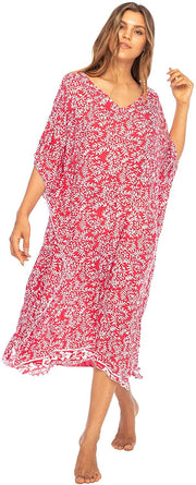 Back From Bali Womens Loose Maxi Beach Dress Cover Up Long Poncho Bun Red