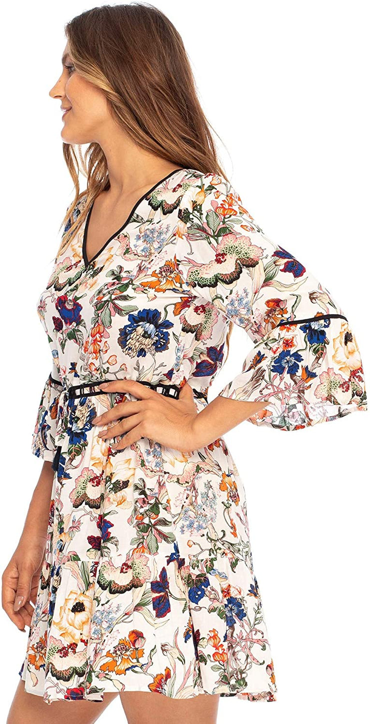 Short Boho Dress Floral Print V-Neck Bell Sleeves Vacation Swing Dress Rayon