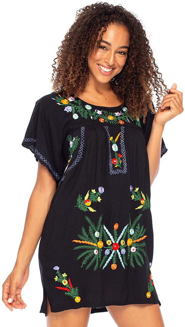 Back From Bali Mexico Embroidered Short Dress Black M/L