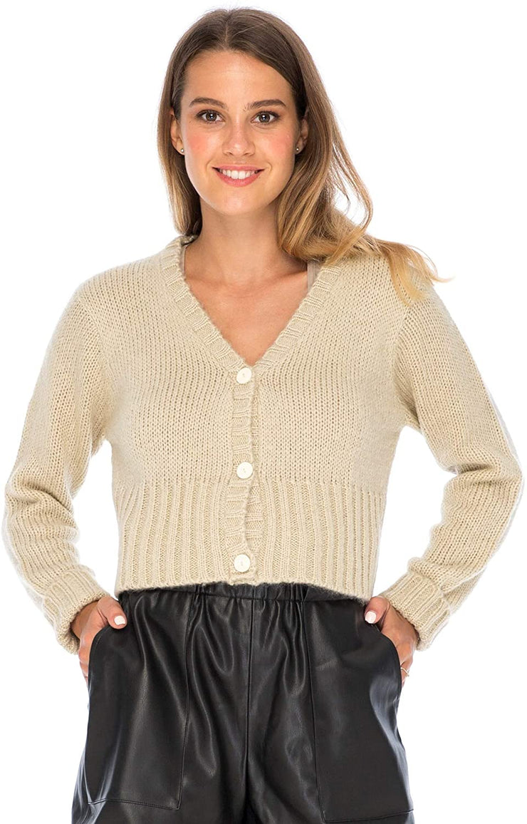 Back From Bali Womens Button Down Cropped Cardigan Sweater Long Sleeve V Neck Knit Shrug Bolero Natural L/XL