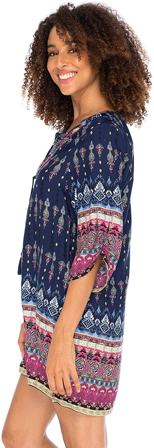 Boho Vintage Print Loose Fit Tunic Dress V-Neck with Tassel Ties