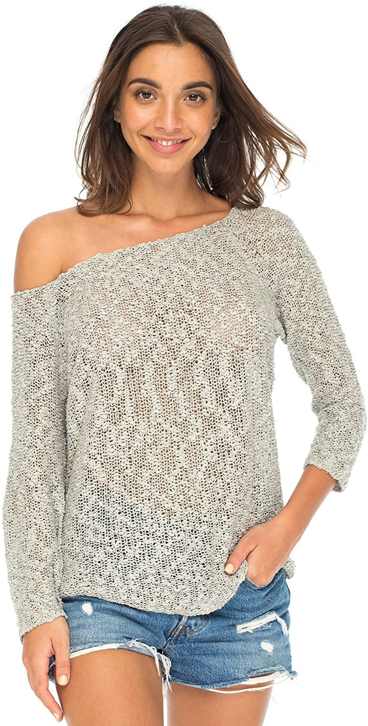 Back From Bali Womens Off Shoulder Pullover Sweater Oversized Lightweight Knit Boho Loose Summer Top Grey S/M