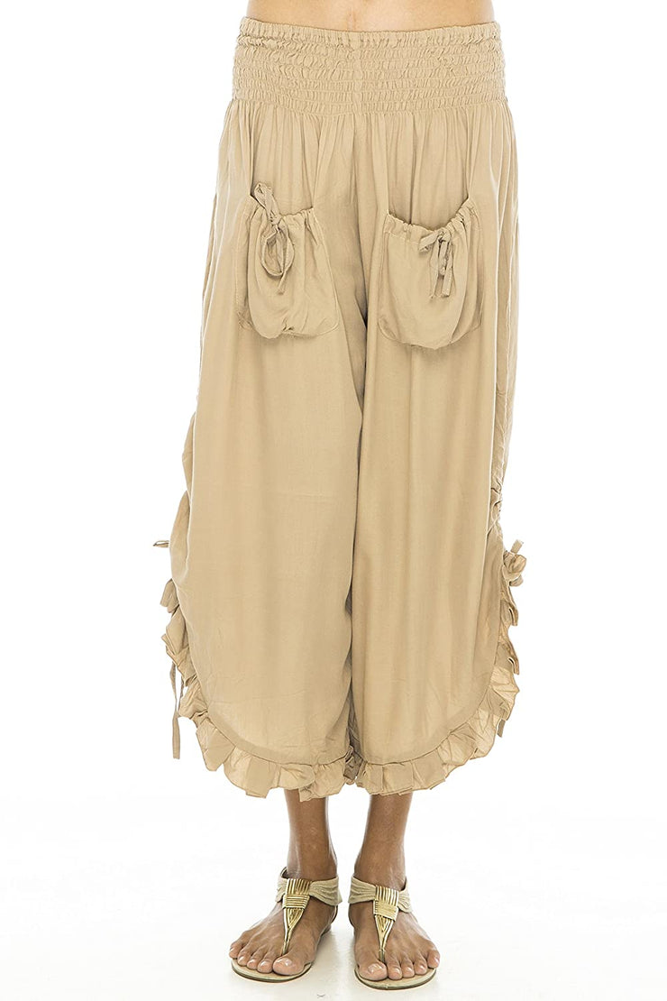 Back From Bali Womens Wide Leg Comfort Elastic Waist Crop Ruffle Hem Audi Pants Beige L/XL
