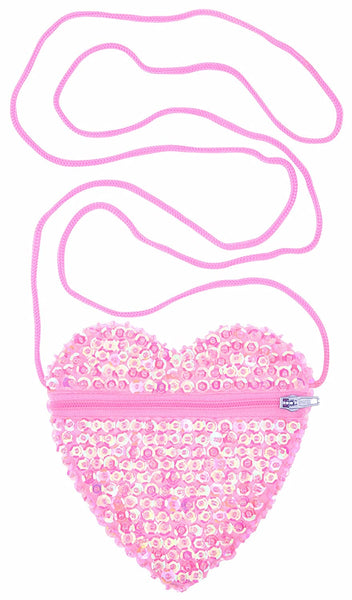 Little Girls Small Heart Shaped Bag with Strap Sequins Ballet Pink