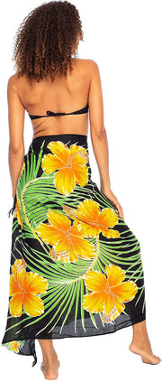 Sarong Wrap Swimsuit Beach Cover Up Hibiscus Floral Rayon Pareo