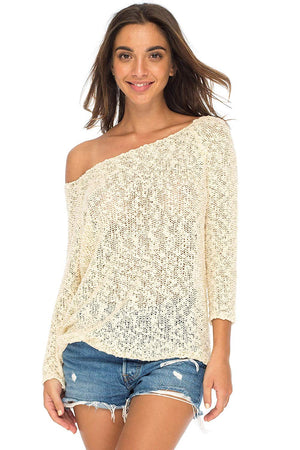 Back From Bali Womens Off Shoulder Pullover Sweater Oversized Lightweight Knit Boho Loose Summer Top Cream L/XL
