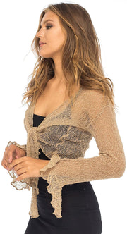 Back From Bali Womens Sheer Shrug Bolero Long Sleeves Cropped Cardigan Lite Bell Sleeves Mocca S/M