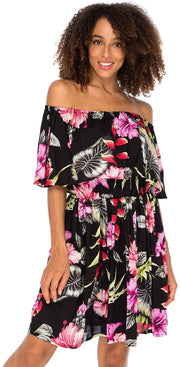 Back From Bali Womens Off Shoulder Floral Print Boho Dress Short Ruffle Beach Sundress Black M/L