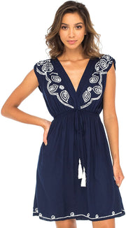 Back From Bali Womens Dress Boho Embroidered Sleeveless Summer Sundress Deep V Neck Midi Short Dress Navy S/M
