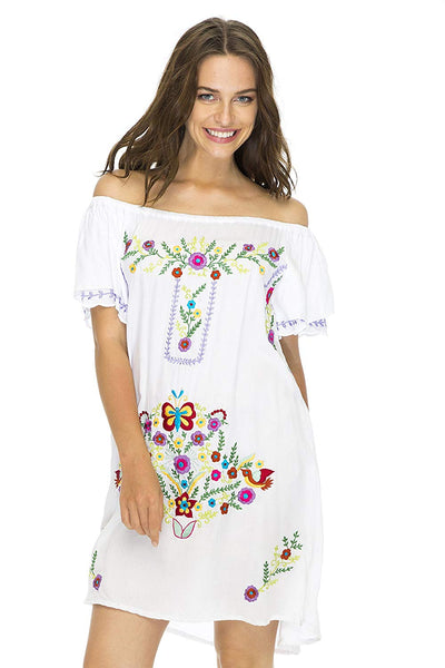 Short Dress Off Shoulder Embroidery Tunic Mexican Style