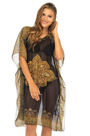 Sheer Sexy Mandala Cover up with Shimmering Sequins