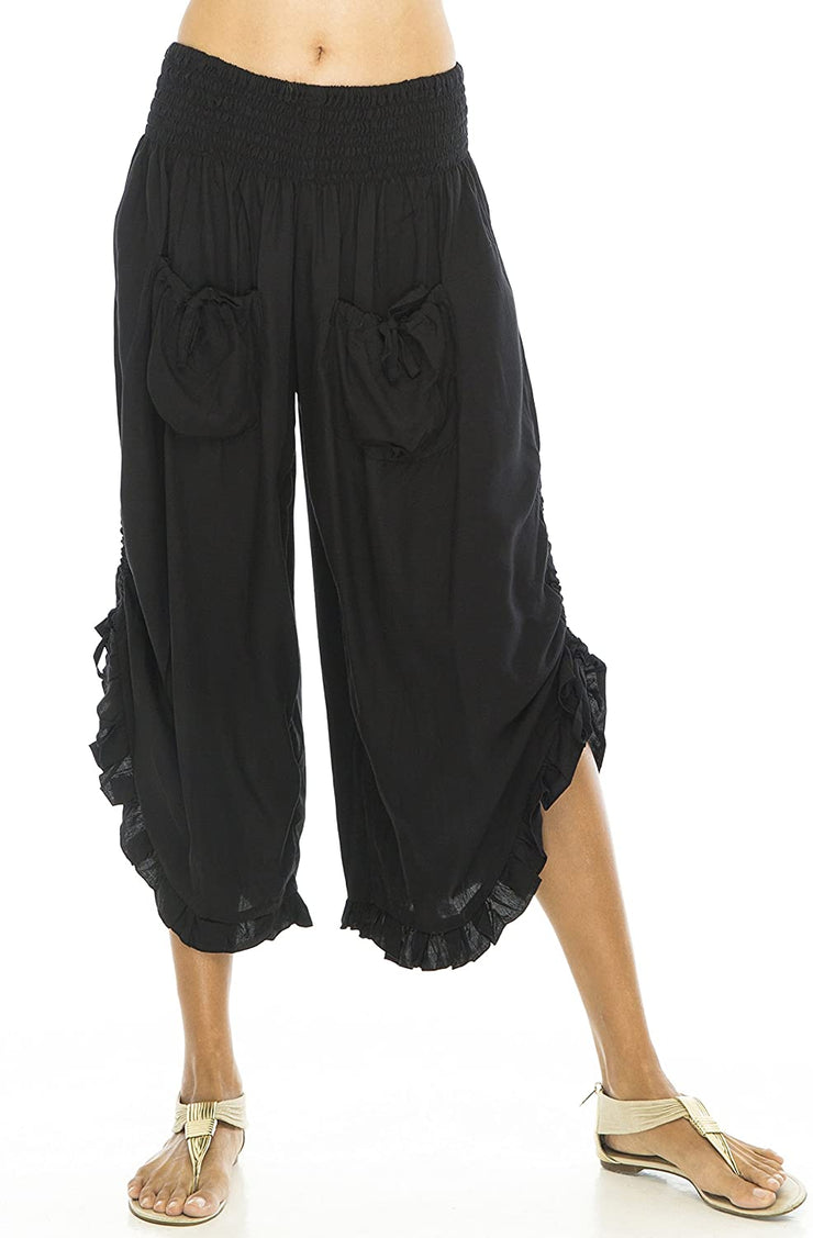 Back From Bali Womens Wide Leg Comfort Elastic Waist Crop Ruffle Hem Audi Pants Black L/XL