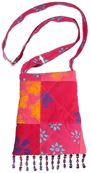 King Kuda Bag Patchwork Pinks Back From Bali Boho Handbag Purse Long Strap Cotton Sequins