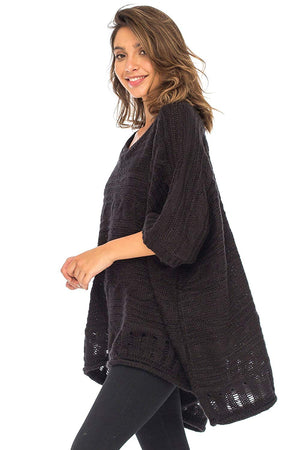 Knit Poncho Sweater Cape V-Neck Soft Boho Tunic Shawl with Sleeves