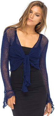 Back From Bali Womens Sheer Shrug Bolero Long Sleeves Cropped Cardigan Lite Bell Sleeves Navy L/XL
