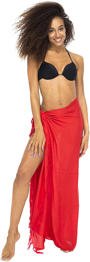 Sarong Swimsuit Cover up Solid Color Fringe with Coconut Clip