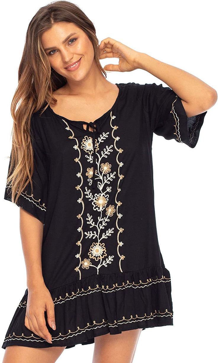 Short Embroidered Ruffle Hem Dress and Cover Up Lightweight