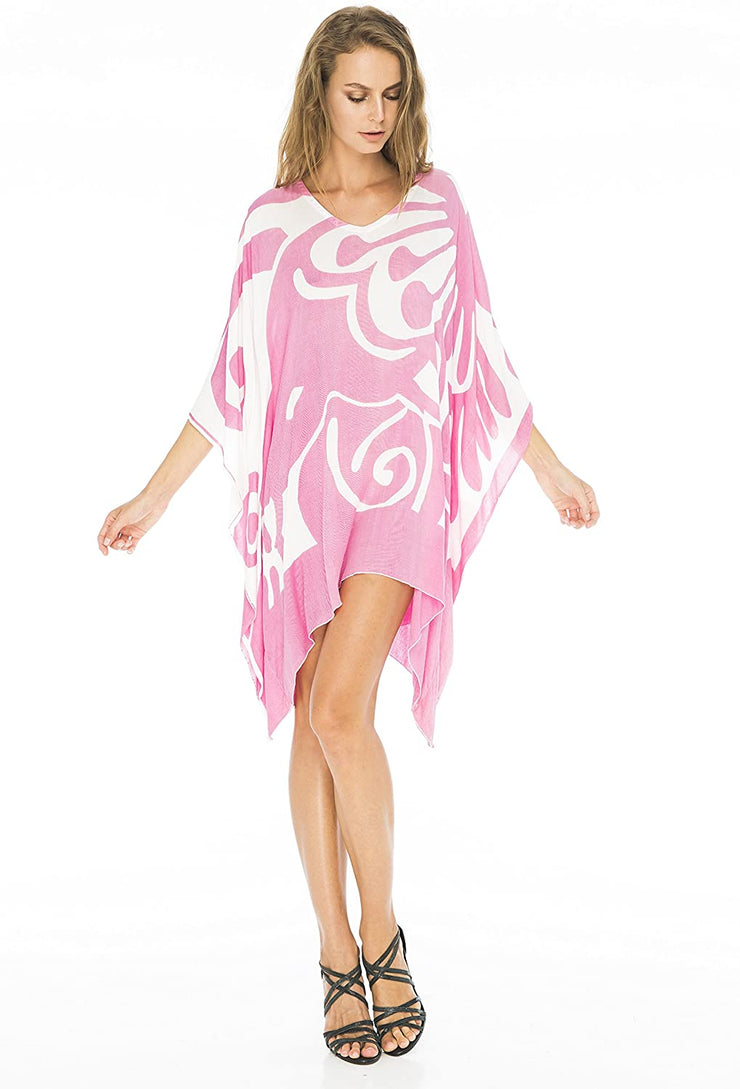 Short Loose Beach Dress Swimsuit Cover Up Lightweight Butterfly Print
