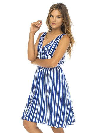 Back From Bali Womens Sleeveless Striped Sundress Deep V Neck Casual Summer Party Dress Lily Blue Medium