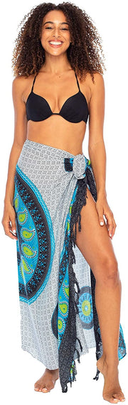 Sarong Wrap Swimsuit Beach Cover Up Boho Mandala Bikini Pareo with Coconut Clip Rayon