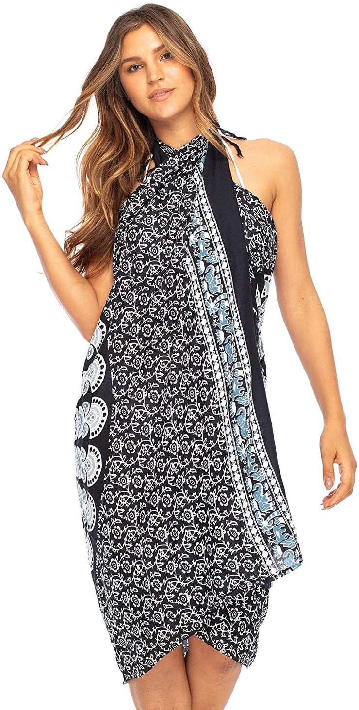Back From Bali Womens Beach Swimsuit Bikini Cover Up Wrap and Clip Sarong Peacock Black White