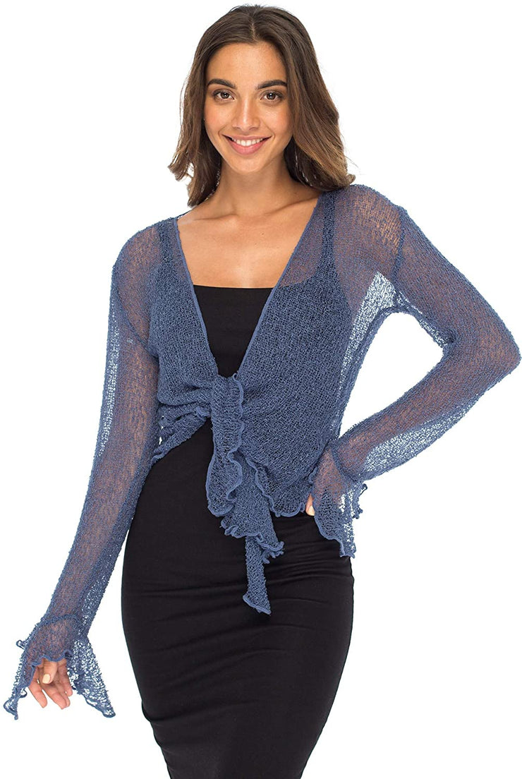 Back From Bali Womens Sheer Shrug Bolero Long Sleeves Cropped Cardigan Lite Bell Sleeves Blue Jean L/XL