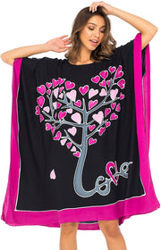 Back From Bali Womens Swimwear Cover Up, Swimsuit Beach Dress Kaftan Poncho in Love Tree Design Black S/M
