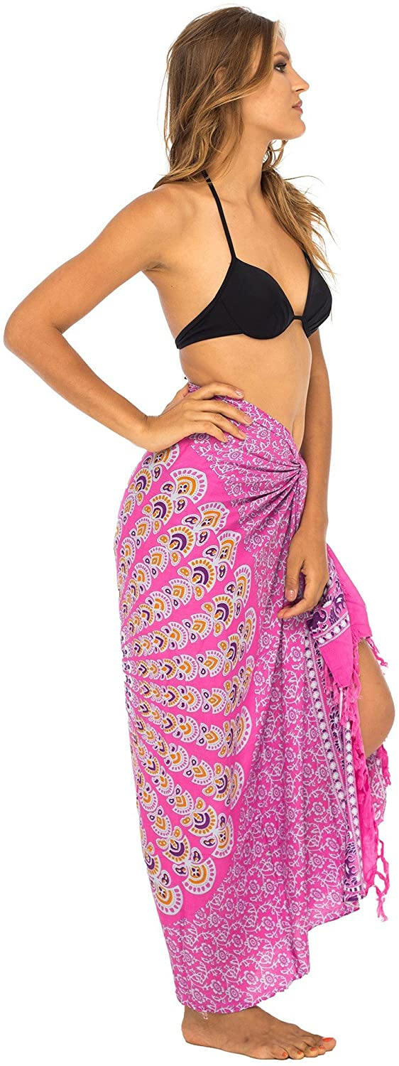 Back From Bali Womens Beach Swimsuit Bikini Cover Up Wrap and Clip Sarong Peacock Pink