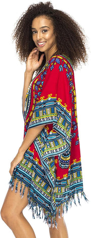 Short  Calypso Beach PonchoTribal Cover Up Sequined