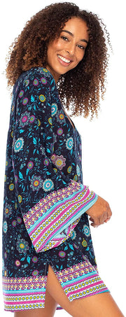 Boho Print Beach Tunic Dress V Neck Flowy Bell Sleeves