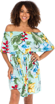 Back From Bali Womens Off Shoulder Floral Print Boho Dress Short Ruffle Beach Sundress Lite Teal L/XL